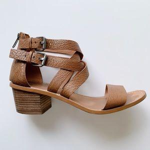 Madewell Lora Brown Leather Block Heel Sandal 7